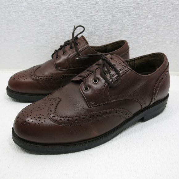 Men's Black Leather BOSTONIAN Classic Wingtip Oxfords Size 12 M GREAT